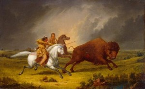 Kane_Assiniboine_hunting_buffalo